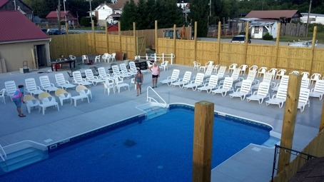 The Korral's heated salt water pool and deck area